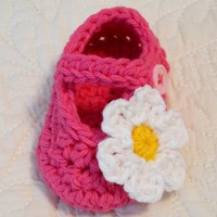 Pink Mary Jane Baby Shoes - Booties, Crochet, Flower