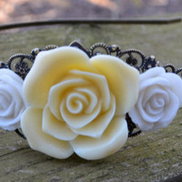 Buttercream Rose Headband by cynicalredhead on Etsy