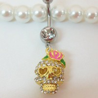 Skull belly ring, bellybutton jewelry with cute gold girlie skull