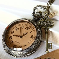 big size transparent Pocket watch Locket Necklace by qizhouhuang
