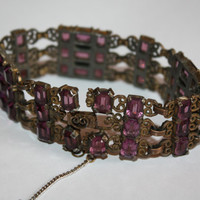 Czech Bracelet Art Deco Amethyst Glass Openback Filigree Wide Chunky 1920s Jewelry