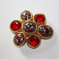 Vintage Art Glass Brooch Red Rhinestone Chunky 1950s Jewelry