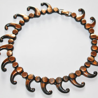 Vintage Necklace Copper Collar Tribal 1960s Jewelry