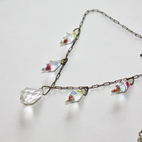 Art Deco Necklace Crystal Tear Drop Briolette Rainbow 1930s Jewelry