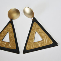 Vintage Earrings Geometric Egyptian Statement 1970s Jewelry