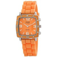 "Golden Classic Women's 2213-Orange ""Social Jelly"" Trendy Square Rubber Strap Watch: Watches: Amazon.com"