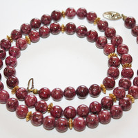 Vintage Necklace Natural Purple Jasper Bead Stone