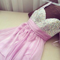 Sexy purple Sweetheart Chiffon Prom Beadings Dress