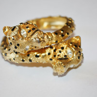 Vintage Bangle Bracelet Leopard Head Chunky Rhinestone enamel 1970s Jewelry