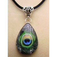 Amazon.com: Teardrop Peacock Glass Tile Pendant, Necklace: Everything Else
