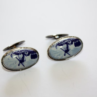 Vintage Sterling Cuff Links Delft Porcelain Mens 1940s Fine Jewelry