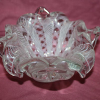 Vintage Italian Venetian Ribbon Swirl Candy Dish Ash Tray Art Glass 1930s Collectible