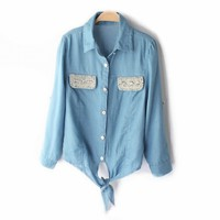 Pearls &amp; Rhinestones Lace-up Short Slim Denim Shirt