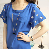 Hollow Out Stars Heart Shaped Pocket Chiffon T-shirts