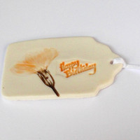 Ceramic Birthday Gift Tag with Yellow Flower