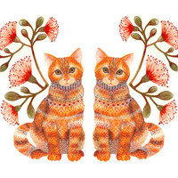 "Cats couple animal art print ""Lacy Twins"" by OlaLiola, size 10x8 (No. 20)"