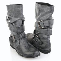 Slouchy Mid-Calf Boots w/ Buckles