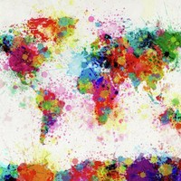 World Map Paint Drop Print By Michael Tompsett