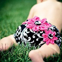 Diaper Cover with 3 Flowers | StacyBayless - Children&#x27;s on ArtFire