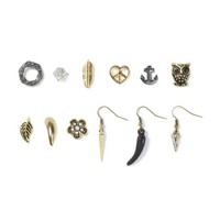 Mismatched Antique Gold and Hematite Stud and Drop Earrings Set of 12  | Icing