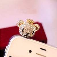 1PC Bling Crystal Cute Winnie Bear Earphone by StudioOrangeStar