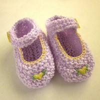 Baby Girl Shoes Lavender Mary Janes Knit Booties Three to Six Months | EweniqueEssentials - Knitting on ArtFire