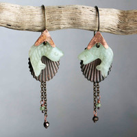 Pisces green earrings carved jade fish copper fishhooks