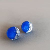 Moon Royal Blue Silver Stud Earrings - Hipoallergenic Surgical Steel Posts