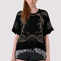 Baroque Beads Chiffon Top in Black