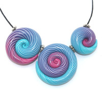 Elegant big gradient spiral beads, polymer Clay beads with unique stripes in turquoise, purple and pink, set of 3