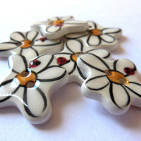 Set of SIX, MINI Handmade White Daisy Buttons, Boho Ceramic Flower Buttons, Whimsical, Great for Little Girl&#x27;s Dresses, Jumpers, Children