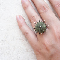 Green Sterling Silver ring Sea urchin ring Sea anemone