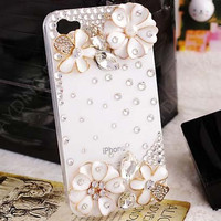 Handmade Fashion Phone case cover for Apple iphone 4/4s iphone 5 Charms Blingbling Pearl Rhinestone Crystal Lovely Gilding Daisy Flowers