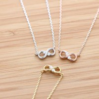 tiny matt INFINITY necklace with crystals 3 colors by BLESSINGBRIDE on Zibbet