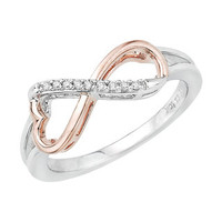 Two-tone Sterling Silver Diamond Accent Heart Infinity Ring | Overstock.com