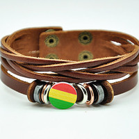Women leather bracelet flower pendant brown Leather bracelet Charm Bracelet  high quality bracelet  RZ0242