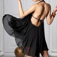 LIKE WOW! BACKLESS BLACK DRESS