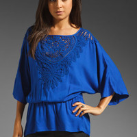 Ella Moss Valerie Lace Blouse in Cobalt from REVOLVEclothing.com