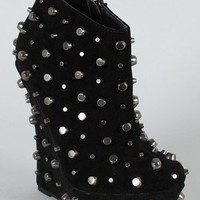 M1062-22E Suede Studded Wedge Bootie