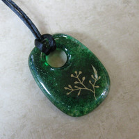 Green Necklace, Green and Gold Donut, Simple Jewelry, Green Jewelry - Delanie - 4212 -3