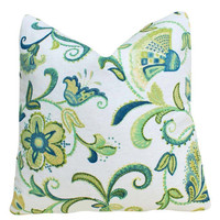 Green and Blue Pillows Floral Jacobean on by PillowThrowDecor