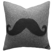 Moustache Pillow Gray Wool 18x18 NEW by PillowThrowDecor on Etsy
