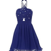 New Look Mobile | Blue Cut Out Embellished Halterneck Prom Dress