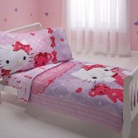 Sanrio 4 Piece Toddler Bedding Set, Hello Kitty and Friends
