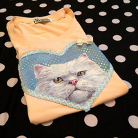 Peach Cat Applique Tee