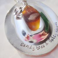 Sandy toes and salty kisses upcycled spoon keychain with sea glass and whale tale charm
