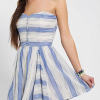 Lucca Couture Strapless Linen Stripe Dress