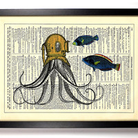 Deep Sea Octopus Upcycled Dictionary Art Vintage Book Print Recycled Vintage Dictionary Page  Buy 2 Get 1 FREE