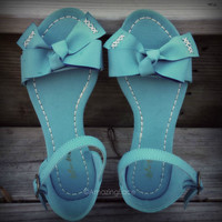 Pretty Blue Bow Tie Ankle Strap Flat Sandals Faux Leather Soft Mint Womans Shoe