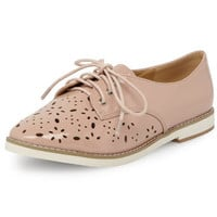 Nude laser cut lace up brogues - View All New In   - What's New